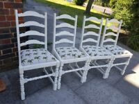 Dining chairs x 4. Oak white distressed palm tree. Rustic shabby chic farmhouse. LOCAL DEL