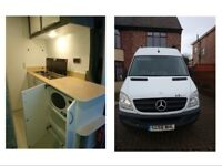 4 Berth Mercedes Sprinter MWB Motorhome Campervan (bike / surf / band / dog van). Removable Dog Cage