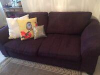 Sofa & Armchair For sale - deep plum fabric