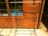 Clothes Garment Hanging Rail, 115cm long. On casters. Ideal Car Boot Sale. Collect Essex