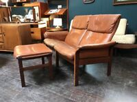 Swedish Twin Recliner & Footstool by Gote Mobel. Retro Vintage Mid Century