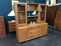 Windsor High Sideboard / Bookcase in Elm by Ercol. Retro Vintage Mid Century