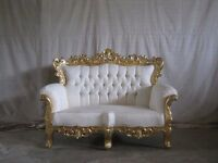 3 Piece Ex Display Asian Wedding Sofa Chaise Gold leaf gilded Indian King Stage Set Suite French