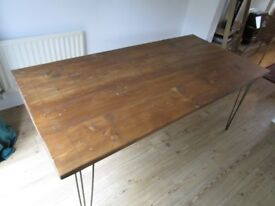 Industrial Dining Table, with reclaimed wood, vintage, shabby chic,reclaimed,metal base