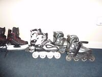 Roller Blades Pink size 3-6 , Black size 4-7 , Ice Hockey Skating shoes size 5-6