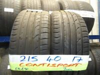 MATCHING PAIR 215 40 17 contisports 7mm TREAD £70 PAIR SUP & fittd 7dys (punct £8) opn sunday 4pm
