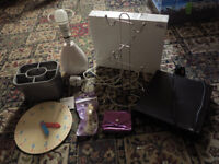 Bundle of items: DVD player, floating shelf, lamp, door latch, teaching clock