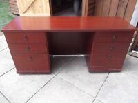 Large mahogany effect dresser / desk