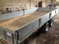 Ifor Williams CT166, 16 foot tilt bed trailer with removable sides making it a flat bed..