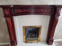 Mahogany Look Fire Surround, Marble Back & Hearth