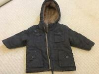 Grey hooded jacket size 12-18 months