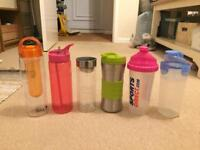 Six bottles - thermos, hydration, sports, protein, water, fruit infuser, tea, etc