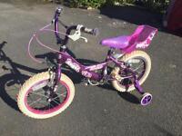 """Girl's bike with stabilisers (16"""" wheels)"""