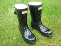 Hunter Original Black Gloss Short Wellington Boots. Wellies. Size 4.