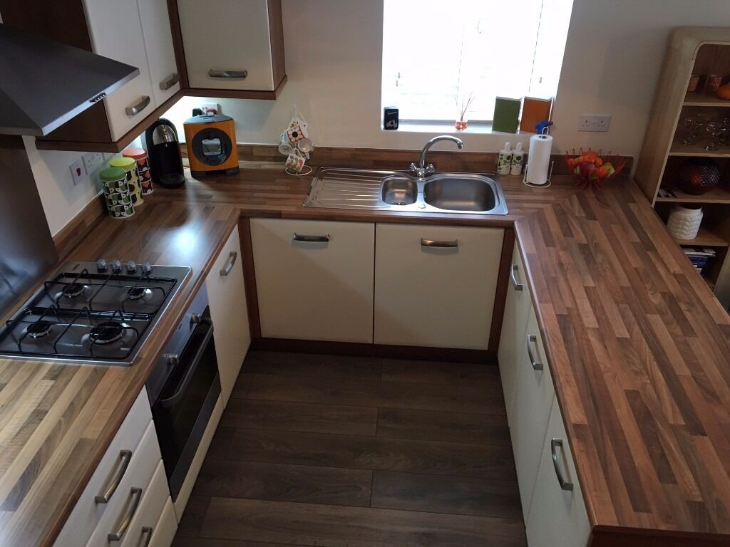 Kitchen units worktops and appliances cream and walnut for Kitchen units and worktops
