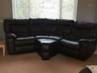 Chocolate Brown Leather Curved Sofa with reclining left and right ends