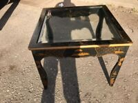 Square Oriental Coffee Table With Clear Glass Top - Project - Restoration
