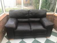 2 x brown two seater leather sofas