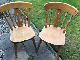 SOLD WAITING COLLECTIONTwo Lovely Vintage farm house dining chairs