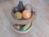 wooden fruit bowl with turned wooden fruit