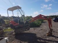 Mini Digger excavator with driver all areas
