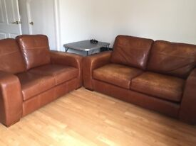 Leather sofa bed and sofa for sale