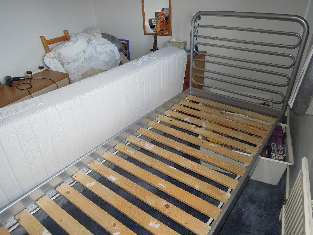 ikea single bed silvergrey metal frame bed and mattress - Ikea Single Bed Frame