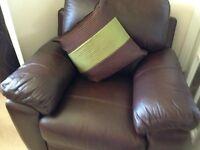 Chestnut brown leather armchair