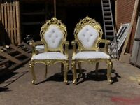 2 x BRAND NEW Riga Throne Chairs - Gold Wedding Events Luxury Carved Furniture French Italian Throne