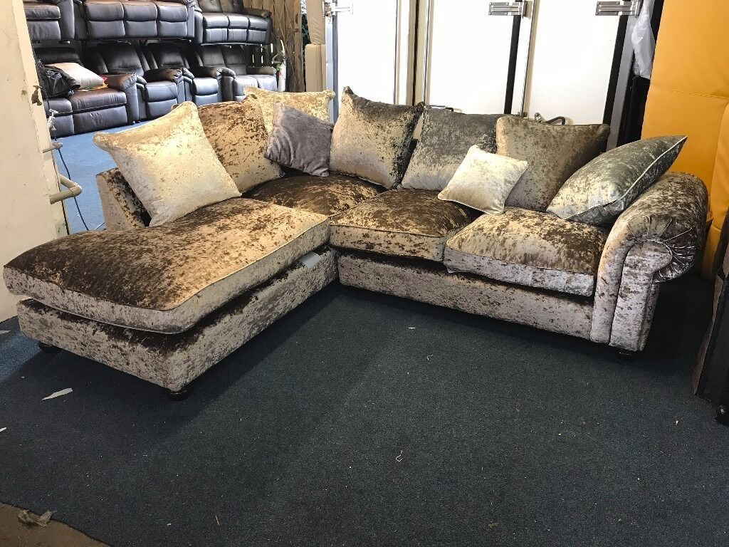 Littlewoods Gold Brown Crushed Velvet L Shape Corner Sofa
