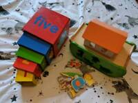 Toddler toys wooden boat and sorting boxes