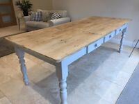 Large rustic kitchen dining table with grey legs - country farmhouse reclaimed wood 7.5ft 10 seater
