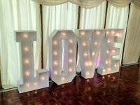 Giant Light up LOVE letters 4ft Hire for Weddings only £149 delivered Beds, Herts, Bucks with poster