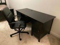 Large Brown Desk with Drawers and Shelves with Desk Chair