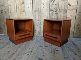 G Plan Fresco BEDSIDE TABLES pair mid century modern Danish teak era 1960s cube 1 drawer gplanera