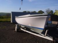 Oyster traditional diesel fishing boat and trailer