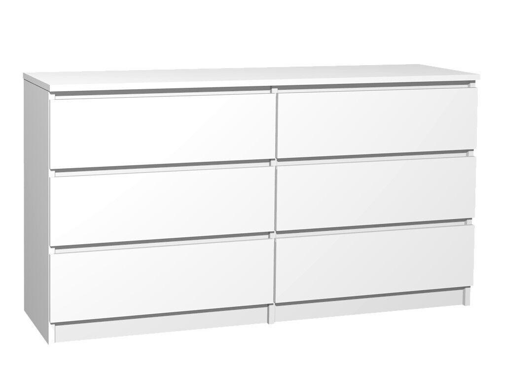 Moderne Kommode 6 Schubladen 120cm BREIT Schubladenkommode Weiß NEU