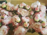 x6 sets of faux peonies flowers in glass vases