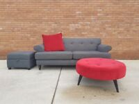 Grey DFS 3 Seater Sofa & Footstool