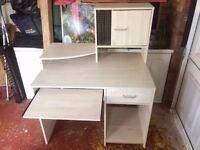 Computer desk... W100cm x D67m x H72 to main desk H125cm to top of cupboard