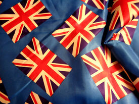 "3 metres Blue Union Jack Flags Satin Fabric 45"" wide"