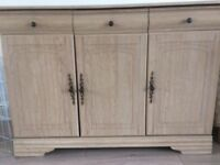 Light oak sideboard three cupboards and three drawers pickup only