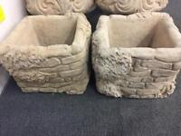 Set of Stone Planters Garden Ornaments