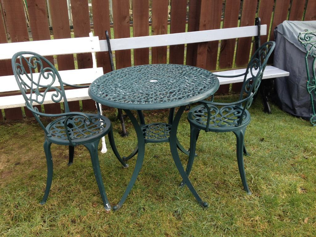 Green coated aluminium bistro set garden table and 4 chairs