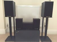 Surround Sound speakers by Richard Allen including stands and with free amp receiver