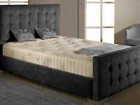 Brand New Charcoal Fabric Kingsize Bed with Mattress