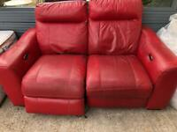 Red electric recliner sofa