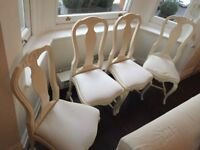 4 Rococo style dining chairs, cream