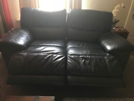 Sofology Black Leather Reclining Sofa and Chair - Excellent Condition