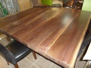 table en bois, comptoir en bois, table en tranche d'arbre